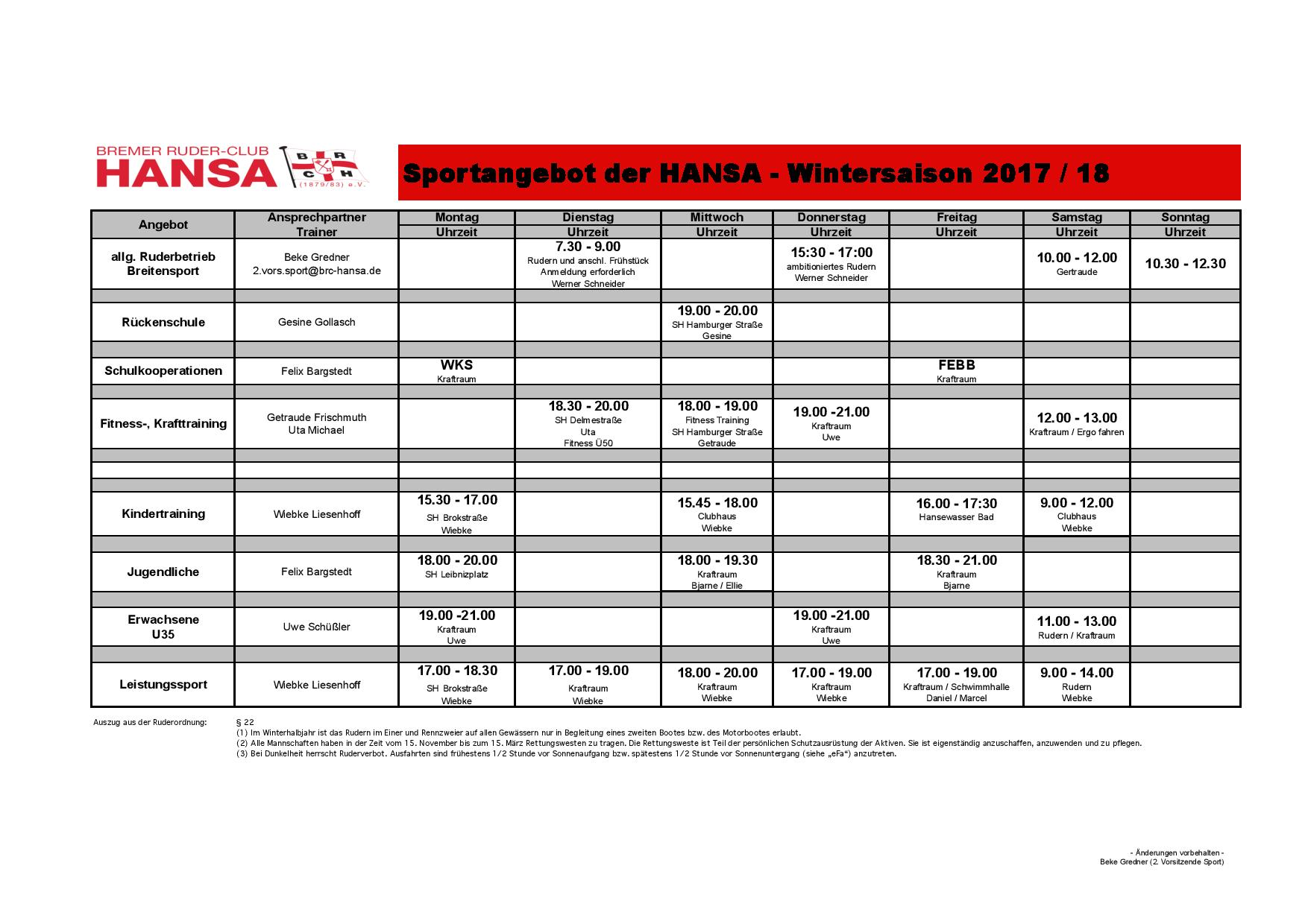 Wintersportprogramm 2017/2018